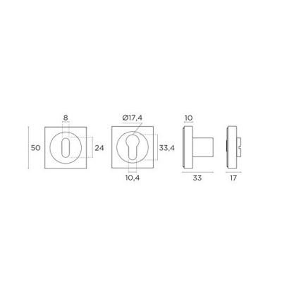 Ροζέτα Εσωτερικής Πόρτας Convex 735 νίκελ ματ/χρώμιο