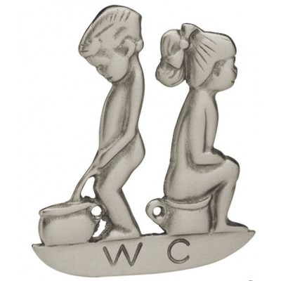 Ένδειξη πόρτας W.C. ανδρών και γυναικών νίκελ ματ