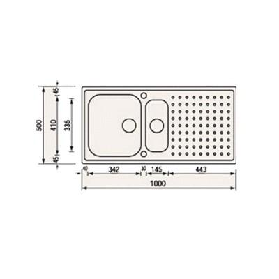 Νεροχύτης Ανοξείδωτος 11105 (100x50 2VR)