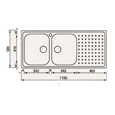 Νεροχύτης Ανοξείδωτος  11107 (16x50 2VD-2VS)