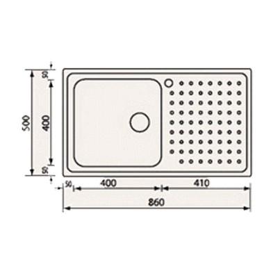 Νεροχύτης Ανοξείδωτος 11113 ( 86x50 1VD-1VS)