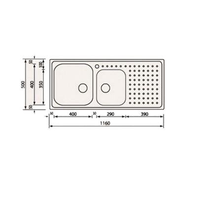 Νεροχύτης Ανοξείδωτος 11117 (116x50 2VD-2VS)