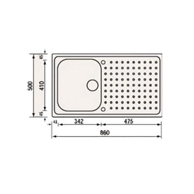 Νεροχύτης Ανοξείδωτος 11133 (86x50 1VR)