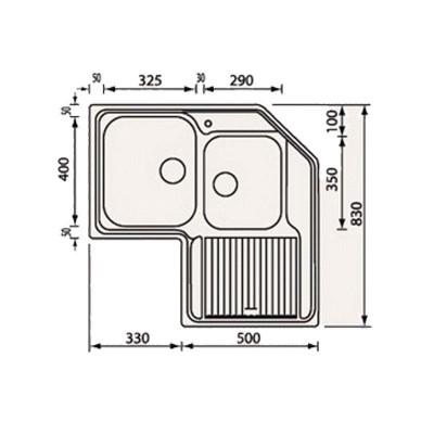 Νεροχύτης Ανοξείδωτος 11248 (83x83 2VD-2VS)