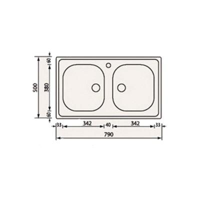 Νεροχύτης Ανοξείδωτος 11502 (79x50 2V)