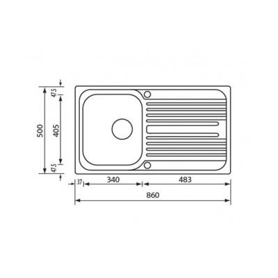 Νεροχύτης Ανοξείδωτος 10643 ( 86x50 1VR)