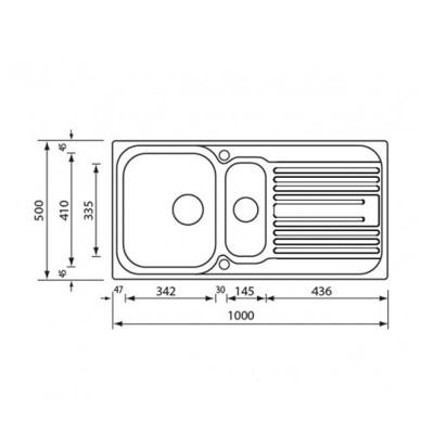 Νεροχύτης Ανοξείδωτος 10645 (100x50 2VR)