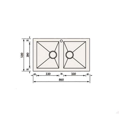 Νεροχύτης Ανοξείδωτος  10904 (86x50 2VR)