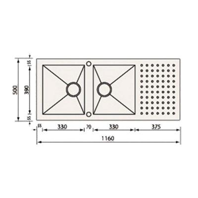 Νεροχύτης Ανοξείδωτος 10907 (116x50 2V)