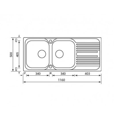 Νεροχύτης Ανοξείδωτος 10647 (116x50 2VR)