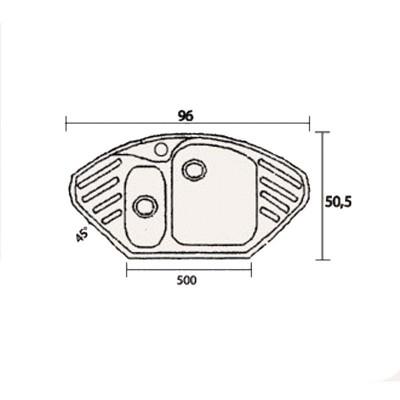 Νεροχύτης Γρανίτη 302 (96x51cm)
