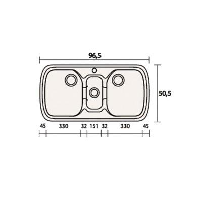 Νεροχύτης Γρανίτη 303 (96x51cm)