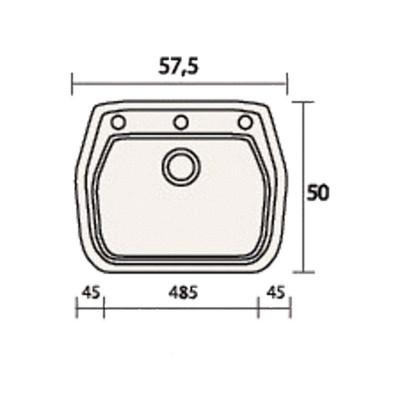 Νεροχύτης Γρανίτη 313 ( 58x50cm)