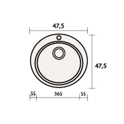 Νεροχύτης Γρανίτη 316  (48x48cm)