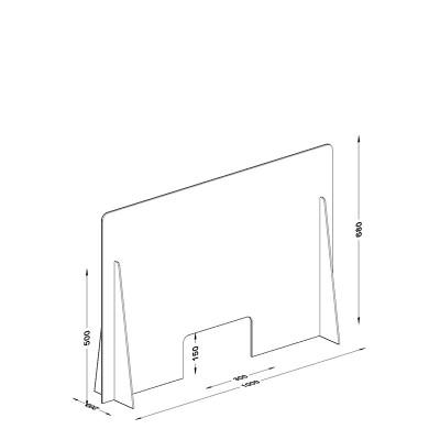 Διαχωριστικό - Προστατευτικό 100X68  Plexiglass 3mm για Ταμεία - Γραφεία
