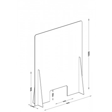 Διαχωριστικό - Προστατευτικό 80X100  Plexiglass 5mm για Ταμεία - Γραφεία