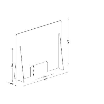 Διαχωριστικό - Προστατευτικό 80X68  Plexiglass 3mm για Ταμεία - Γραφεία
