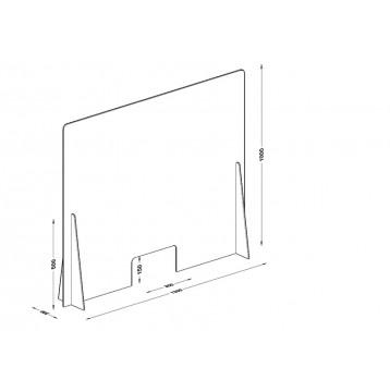 Διαχωριστικό - Προστατευτικό 120X100  Plexiglass 5mm για Ταμεία - Γραφεία