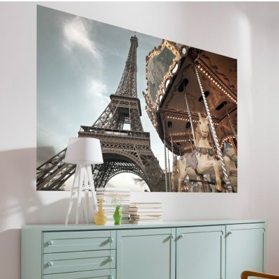 Φωτοταπετσαρία τοίχου Καρουσέλ και πύργος του Άιφελ PARIS 184x127cm