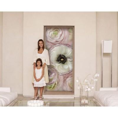 Φωτοταπετσαρία τοίχου Λευκό με Μώβ Λουλούδια (flowers) 92x220cm