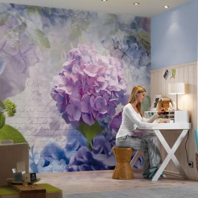 Φωτοταπετσαρία τοίχου Μωβ ορτανσίες (flowers) 368x254cm