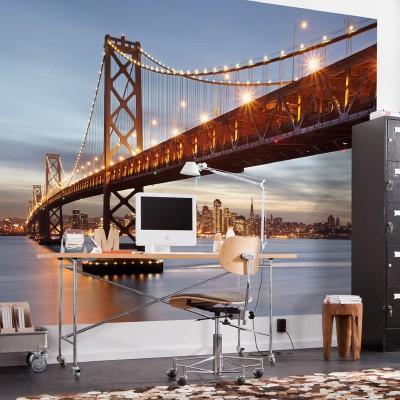 """Φωτοταπετσαρία τοίχου Komar 8-733 """"Bay Bridge """"  (San Francisco AMERICA)368x254cm"""