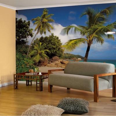 Φωτοταπετσαρία τοίχου Παραλία με φοίνικες (beach) 368x254cm