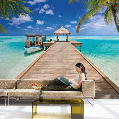 Φωτοταπετσαρία τοίχου Διακοπές στις Μαλδίβες (Maldives Beach) 368x254cm