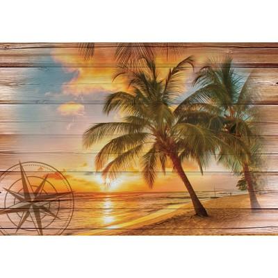 Φωτοταπετσαρία τοίχου Ηλιοβασίλεμα στην Παραλία  208x146