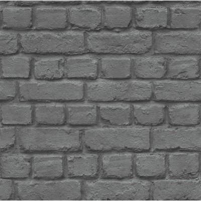 Ταπετσαρία τοίχου Rasch Απομίμηση Τούβλο μαύρο-γκρι  10,05x0,53