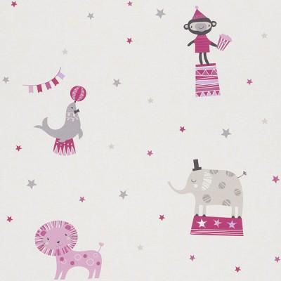Ταπετσαρία τοίχου Rasch Ζώα Σε Τσίρκο Άσπρο - Ροζ - Φουξια  10,05x0,53