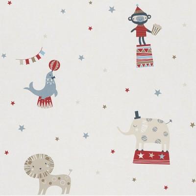 Ταπετσαρία τοίχου Rasch Ζώα Σε Τσίρκο Άσπρο - Ροζ - Φούξια  10,05x0,53