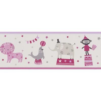 Μπορντούρα τοίχου Rasch Ζώα Σε Τσίρκο Άσπρο - Ροζ - Φούξια  5,00x0,19
