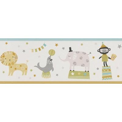 Μπορντούρα τοίχου Rasch Ζώα Σε Τσίρκο Άσπρο - Πορτοκαλί - Γαλάζιο  5,00x0,19