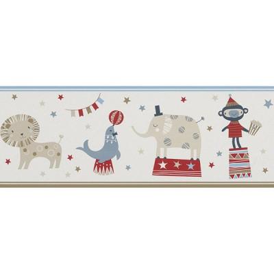 Μπορντούρα τοίχου Rasch Ζώα Σε Τσίρκο Άσπρο - Κόκκινο - Γαλάζιο  5,00x0,19