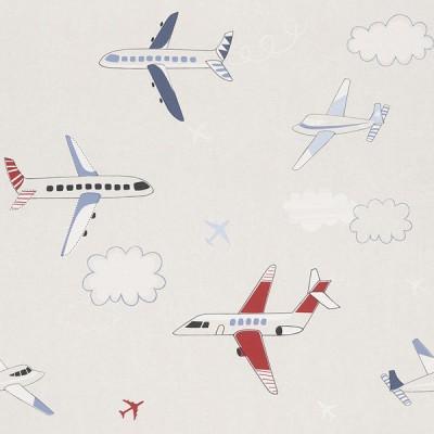 Ταπετσαρία τοίχου Rasch Αεροπλάνα Άσπρο -  Μπλε - Κόκκινο10,05x0,53