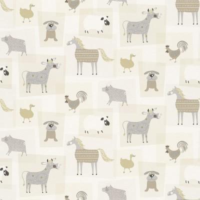 Ταπετσαρία τοίχου Rasch Γκρι - Μπεζ Με ζώα   10,05x0,53