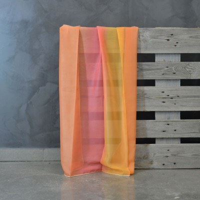 Έτοιμη κουρτίνα ραμμένη με τρέσα 3020-15 Πορτοκαλί/Κίτρινο/Ροζ