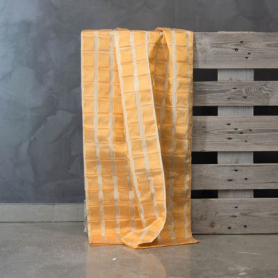 Έτοιμη κουρτίνα ραμμένη με τρέσα AQ2-533/C-56 Πορτοκαλί/Μπεζ  (Διπλής Όψης) 140Χ300