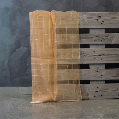 Έτοιμη κουρτίνα ραμμένη με τρέσα 32030/221-1 Πορτοκαλί/Μπεζ