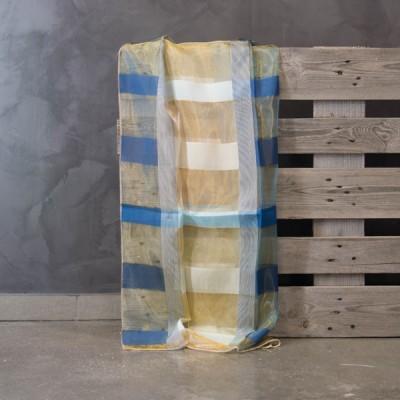 Έτοιμη κουρτίνα ραμμένη με τρέσα Μπλε/Κίτρινο/Λευκό