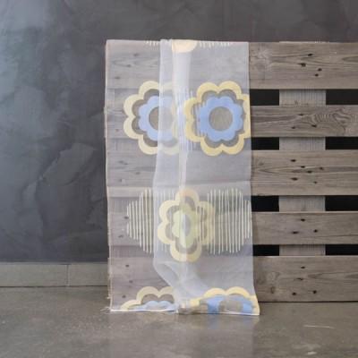Έτοιμη κουρτίνα ραμμένη με τρέσα 7112/02 Άσπρο/Κίτρινο/Γαλάζιο 140x300