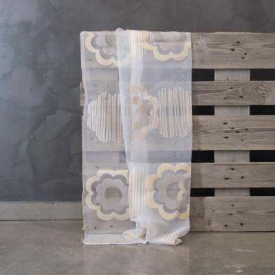 Έτοιμη κουρτίνα ραμμένη με τρέσα 7112/08 Άσπρο/Μπεζ 140x300