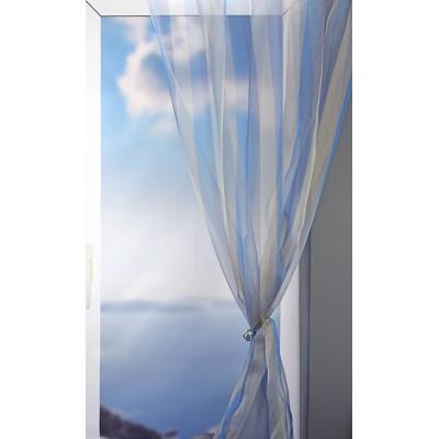 Κουρτίνα με το μέτρο 10029/C05 Γαλάζιο/Χρυσαφί