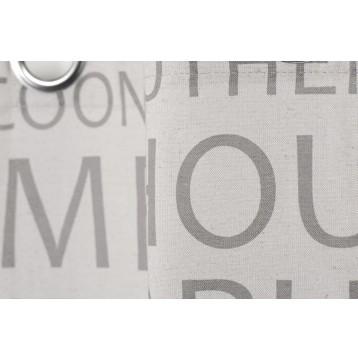 Έτοιμη Κουρτίνα με τρουκς 135X280 Γκρι με γράμματα Rid 486