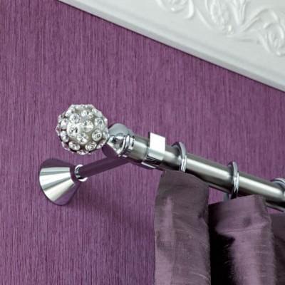 Inox κουρτινόξυλο Diamond Φ25 160cm με Swarovski by Aslanis