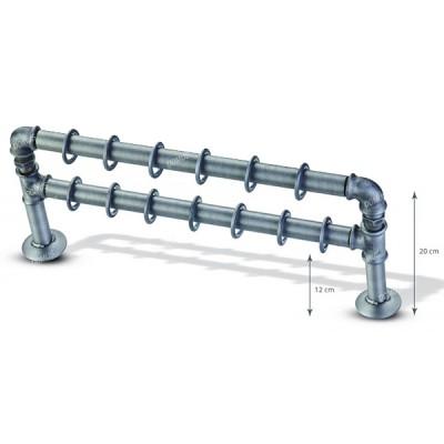 Μεταλλικό Βιομηχανικό Κουρτινόξυλο Domus Φ25 Σετ Ταφ Διπλό από 160cm σε 8 διαστάσεις