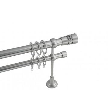 Διπλό Μεταλλικό πτυσσόμενο κουρτινόξυλο Α4 Φ25 νίκελ ματ/strass 140-250cm