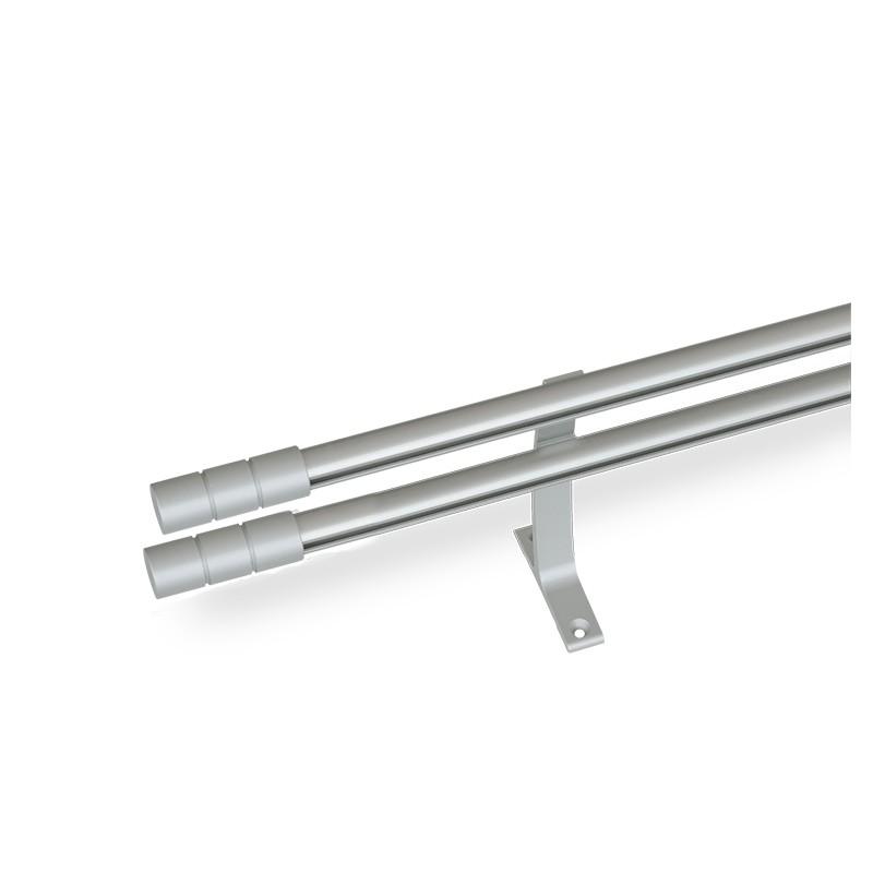 Κουρτινόξυλο αλουμινίου διπλό με σιδηρόδρομο νίκελ ματ ή χρυσό ματ OEM