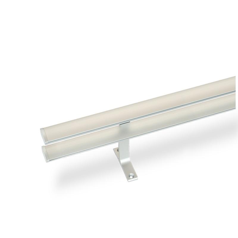 Κουρτινόξυλο αλουμινίου διπλό με σιδηρόδρομο νίκελ ματ OEM